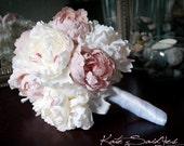 Wedding Bouquet Peony Bouquet Ivory and Blush Pink Peony Silk Bridal Wedding Bouquet