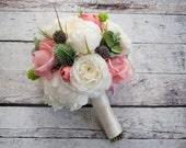 Peony Bouquet - Peony Ranunculus Rose Garden Bridesmaid Bouquet