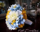 Wedding Bouquet Blue Hydrangea Yellow Ranunculus Billy Buttons Rose Mum Large Garden Wedding Bouquet