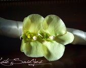 Orchid Hair Pin - Two Orchid Light Green Real Touch Hair Pin