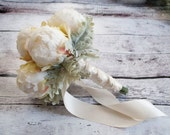 Peony Bud and Dusty Miller Wedding Bouquet