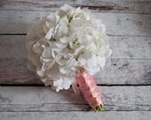 White Hydrangea Wedding Bouquet - White and Blush Pink Hydrangea Bouquet