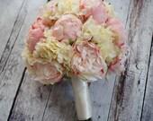 Peony Bouquet - Ivory and Blush Peony Hydrangea and Rose Wedding Bouquet