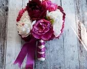 Fuchsia Ivory and Plum Peony Silk Wedding Bouquet