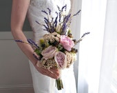 Bohemian Wedding Bouquet - Rose and Lavender Wedding Bouquet