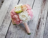 Peony Bouquet - Ivory and Blush Peony and Rose Wedding Bouquet