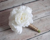 Petite Ivory Peony Wedding Bouquet - Rustic Peony Bouquet