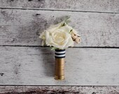Shotgun Shell Wedding Boutonniere with Ivory Roses and Dusty Miller
