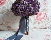 Lavender and Gray Hydrangea Silk Wedding Bouquet