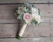 Silk Wedding Bouquet, Bridesmaid Bouquet, Greenery Bouquet, Silk Wedding Flowers, Dusty Miller Bouquet, Silk Rose Bouquet, Silk Bouquet