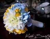 Silk Wedding Bouquet - Blue Hydrangeas, Yellow Ranunculus, Billy Buttons, Roses, and Mums - Small Bouquet