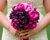 Fuchsia and Purple Peony Silk Wedding Bouquet