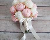 Wedding Bouquet - Blush Pink and Ivory Peony Wedding Bouquet