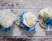 Wedding Corsages - Set of 3 - Ivory and Blue Pearl Wedding Corsages