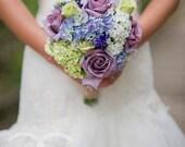 Garden Wedding Bouquet Lavender Rose Hydrangea Shabby Chic Wedding Bouquet with Burlap