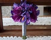 Purple Iris and Rose Wedding Bouquet - Silk Wedding Bouquet Bridesmaids Bouquet
