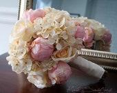 Shabby Chic Wedding Bouquet - Peony Rose and Hydrangea Ivory and Blush Wedding Bouquet