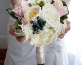 Ivory and Blush Pink Rose Garden Wedding Bouquet - Bridesmaids Bouquet