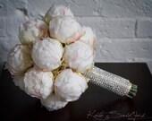 Ivory Peony Bud Wedding Bouquet with Rhinestone Handle