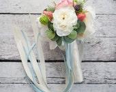 Flower Girl Bouquet - Peony Ranunculus Rose Garden Flower Girl Bouquet