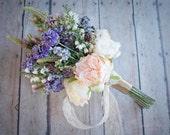 Wildflower and Garden Rose Wedding Bouquet - Silk Bridal Bouquet