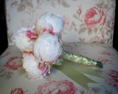 Ivory Peony Wedding Bouquet - Ivory and Mint Peony Bud Bouquet