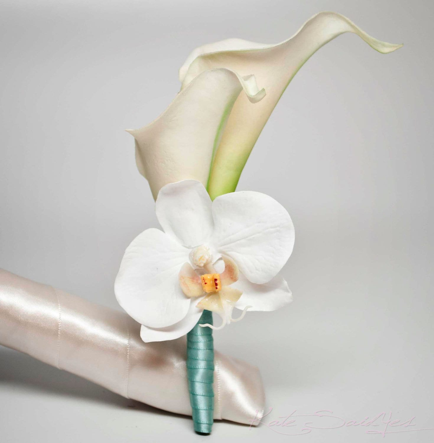 Ivory calla lily and orchid boutonniere with aqua blue wrap etsy ivory calla lily and orchid boutonniere with aqua blue wrap izmirmasajfo