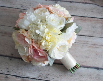 Wedding Bouquet - Blush Pink and Ivory Garden Rose Peony and Hydrangea Wedding Bouquet