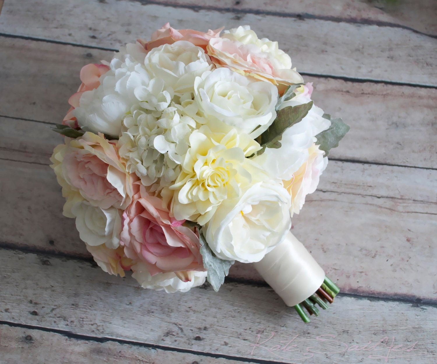 Wedding Bouquet Blush Pink And Ivory Garden Rose Peony And Etsy