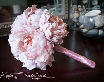 Pink Peony Silk Wedding Bouquet