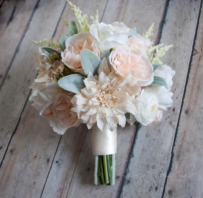 Rustic Garden Wedding Bouquet of Blush and Ivory Dahlias image 0