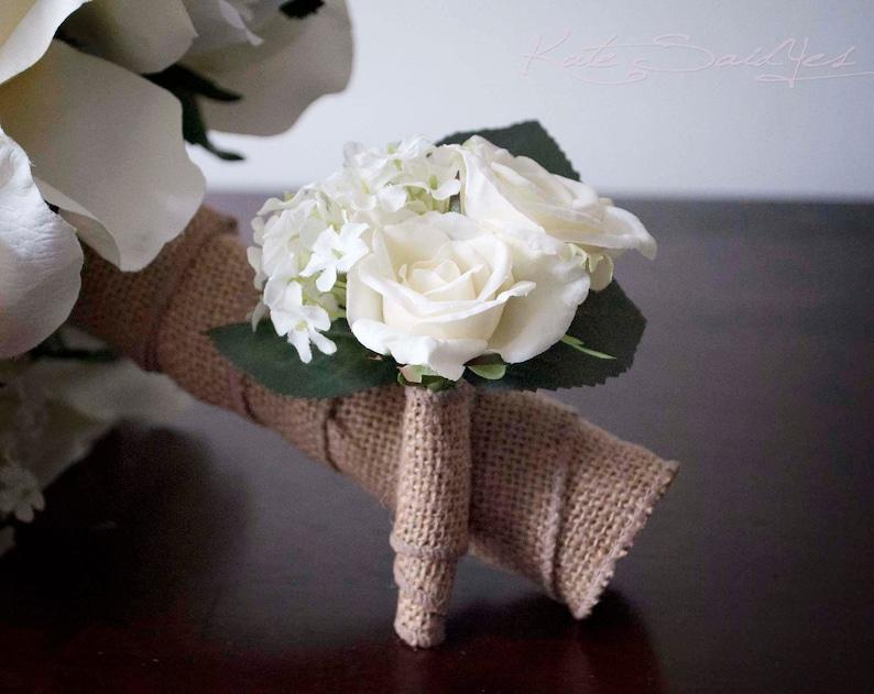 Wedding Boutonniere Rustic Rose Hydrangea Wedding Boutonniere