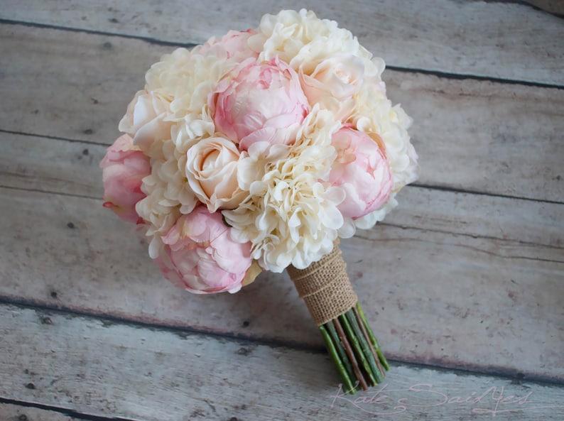 Shabby Chic Wedding Bouquet  Peony Rose and Hydrangea Ivory image 0