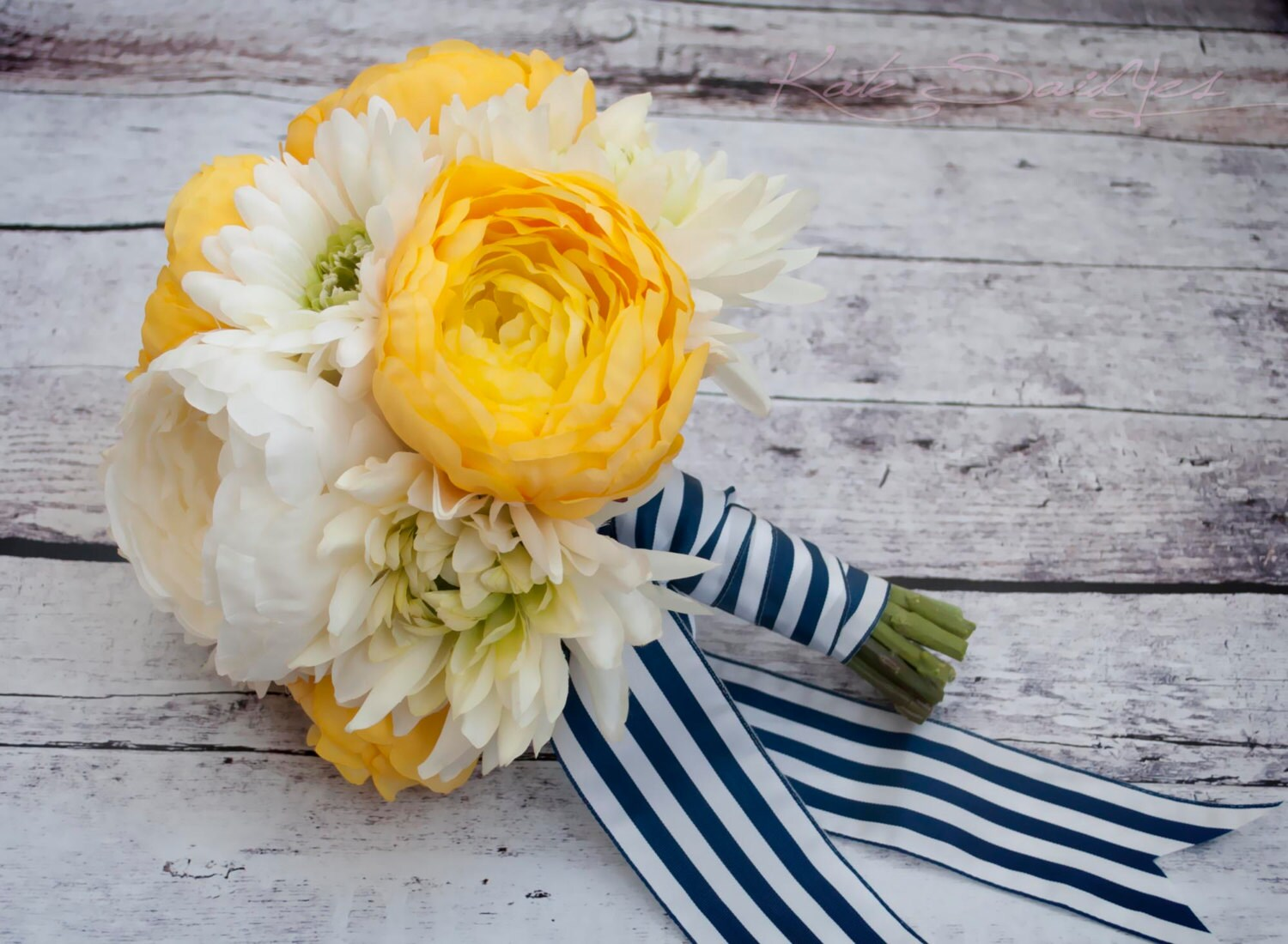 Wedding Bouquet Yellow And White Ranunculus Daisy And Mum Etsy
