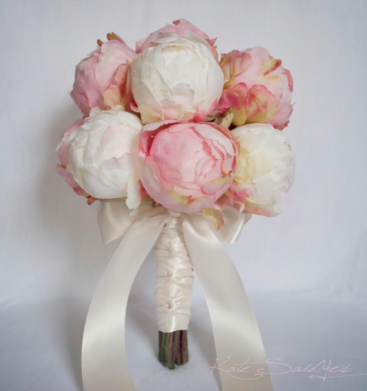 Ivory And Blush Pink Peony Bud Wedding Bouquet Peony Wedding Etsy