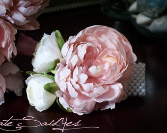 Wedding Corsage - Pink Peony Wristlet Corsage