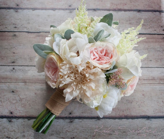 Wwwbouquet Sposait.Wedding Bouquet Blush Pink And Ivory Garden Rose Dahlia And Etsy