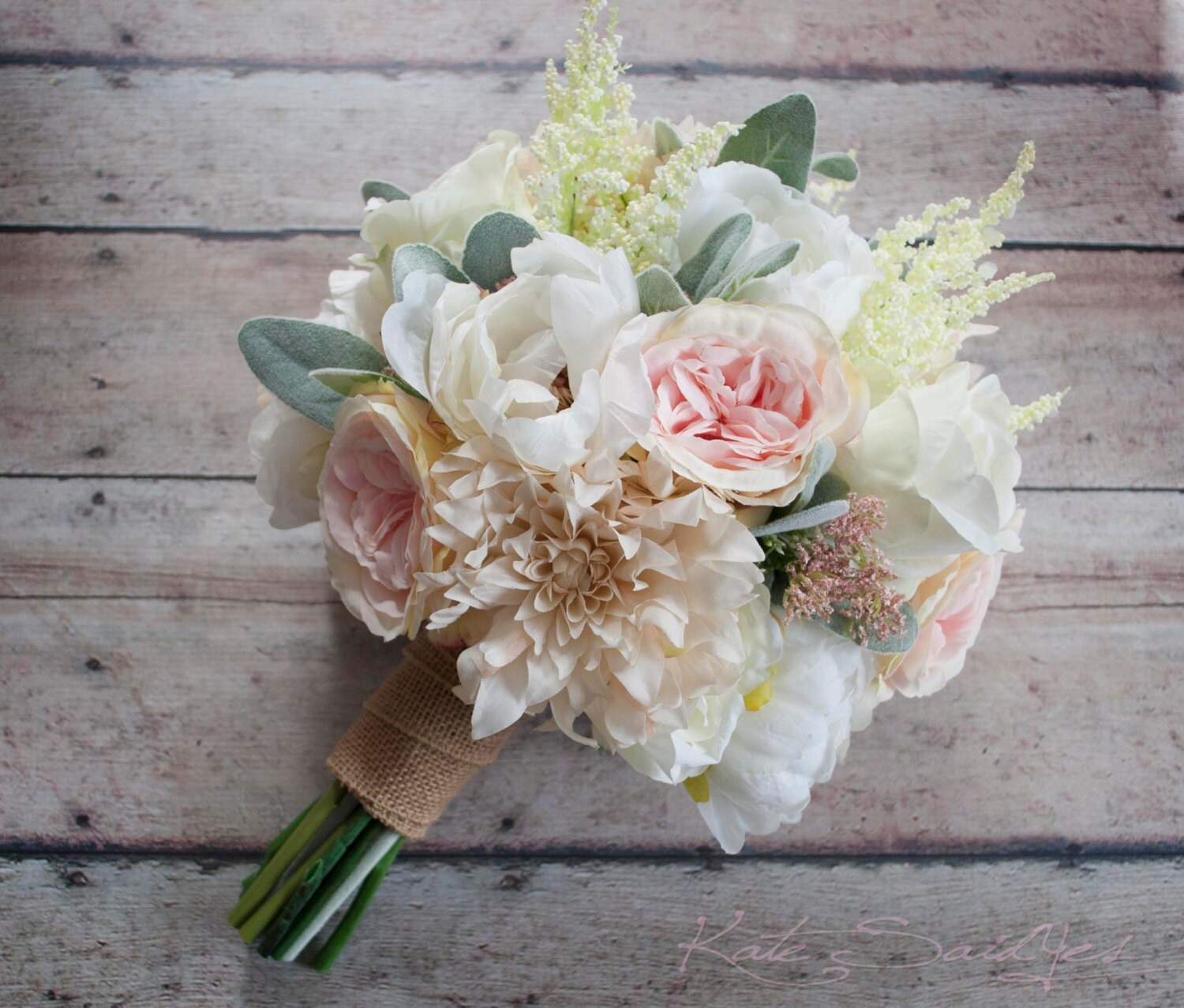 Wedding Bouquet Blush Pink And Ivory Garden Rose Dahlia And Etsy
