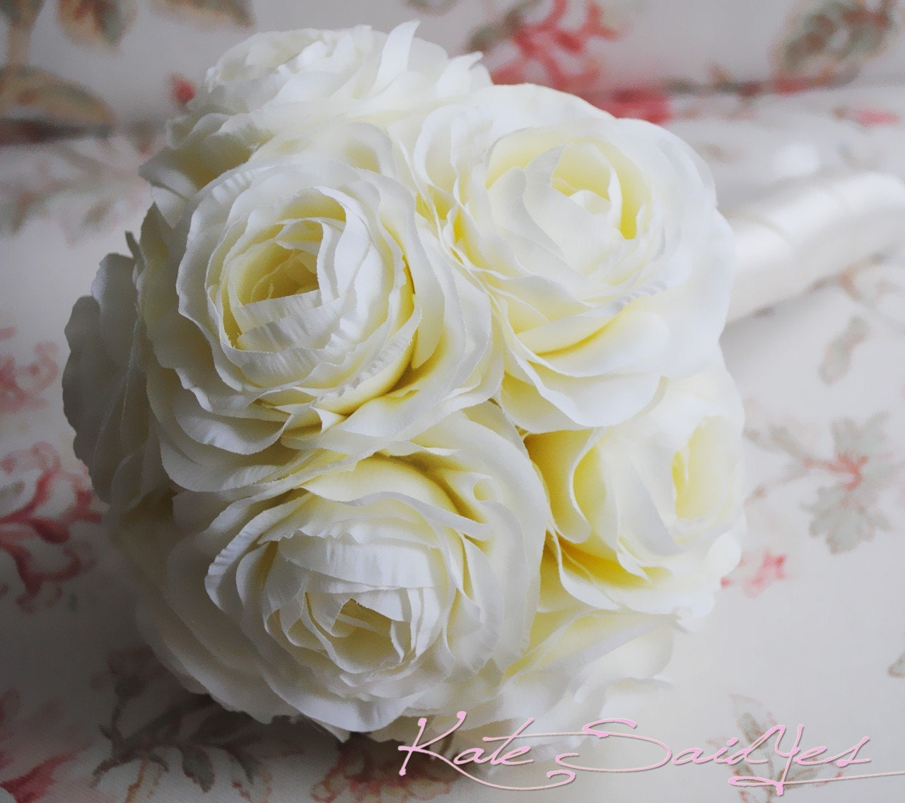 Making A Wedding Bouquet With Silk Flowers: Wedding Bouquet Ivory Cream Ranunculus Silk Wedding