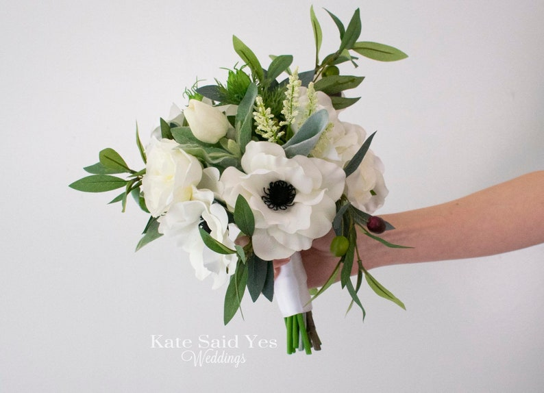 READY TO SHIP Rustic Greenery Wedding Bouquet with Silk Anemones Wildflowers Roses and Eucalyptus
