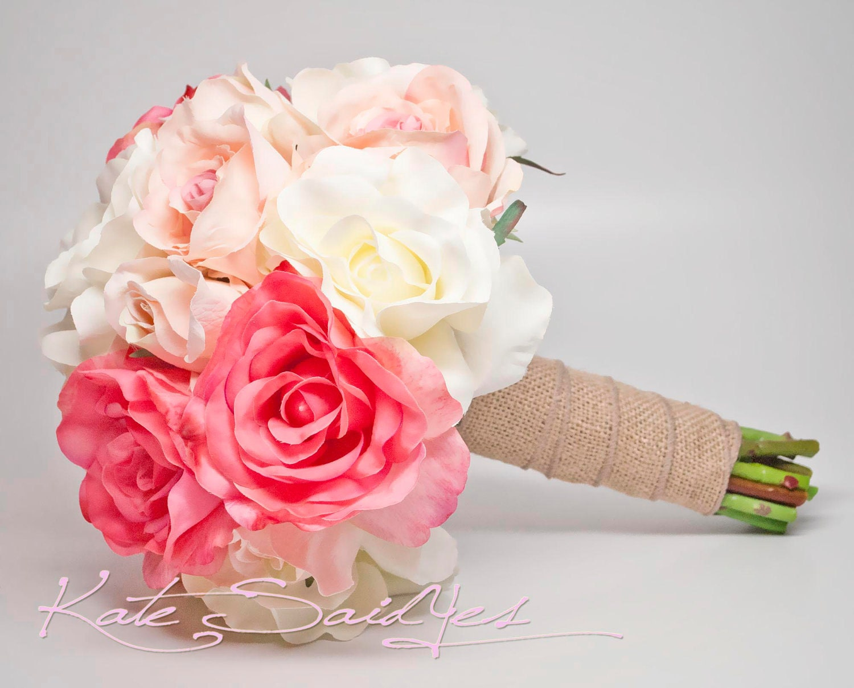 Silk Wedding Bouquet White Pink And Peach Burlap Rose Silk Etsy