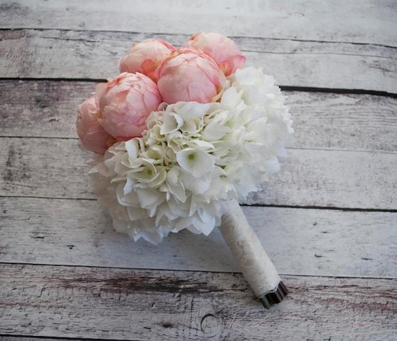 Blush Pink Peony and Hydrangea Wedding Bouquet | Etsy