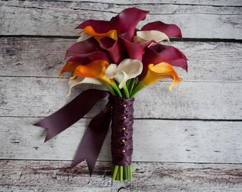 Fuchsia and Orange Calla Lily Bouquet