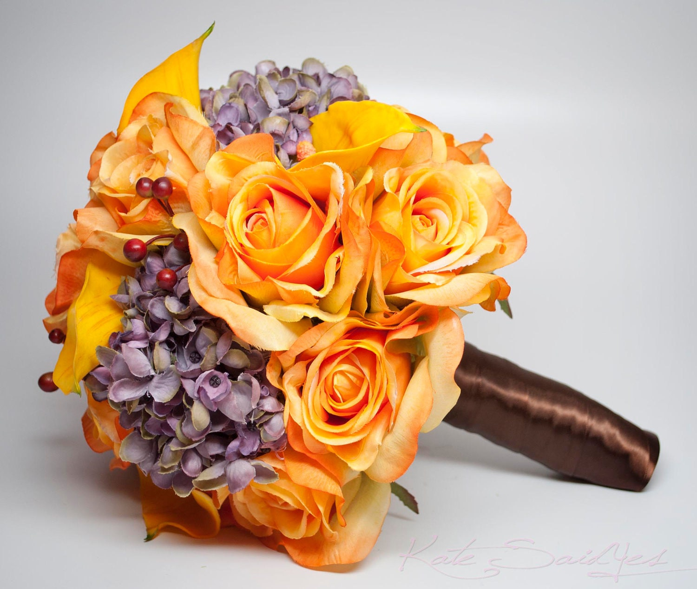 Rustic Orange Wedding Bouquet Burnt Orange Rose Calla Lily Etsy