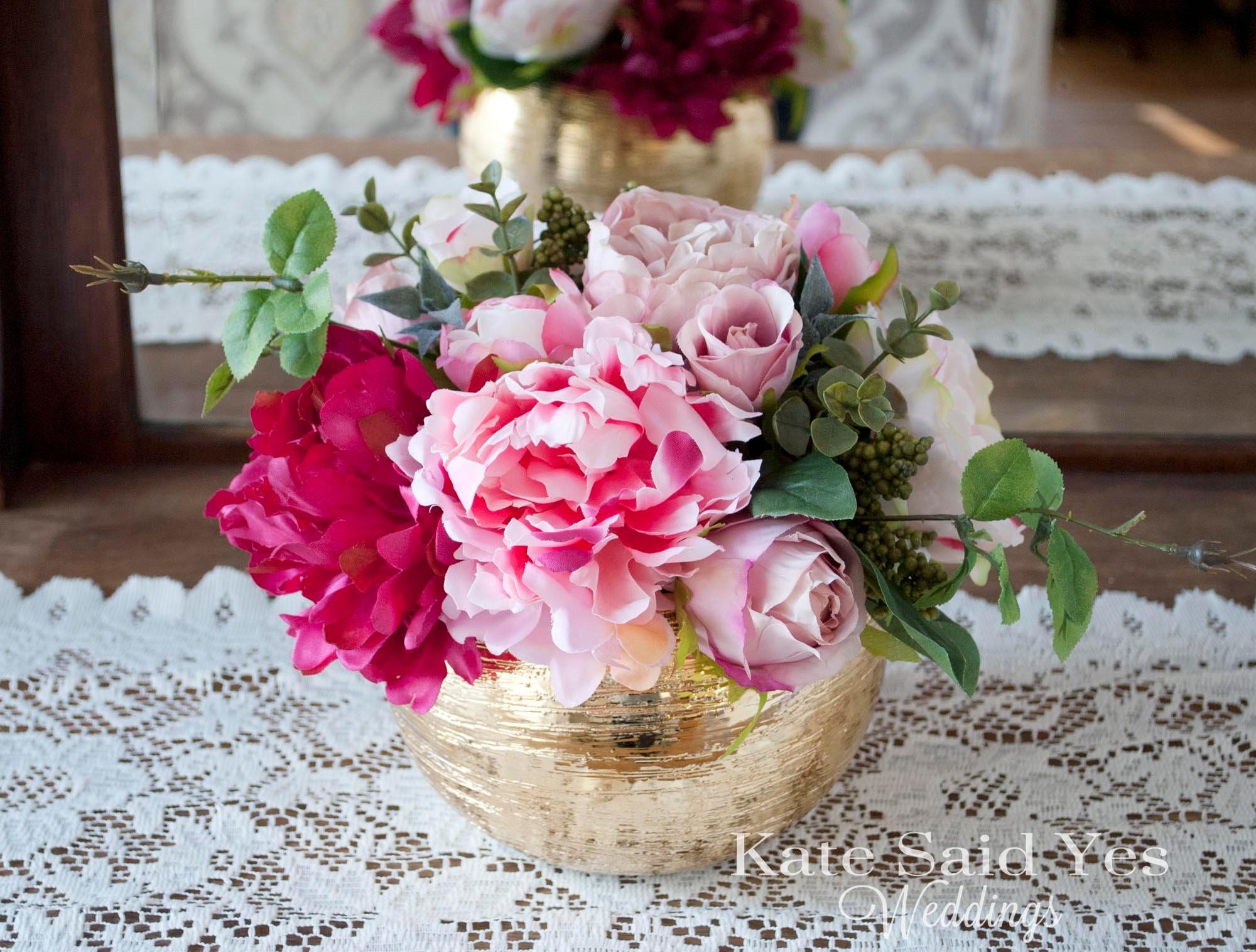 Wedding Centerpiece Peony and Rose Gold Wedding Centerpiece | Etsy