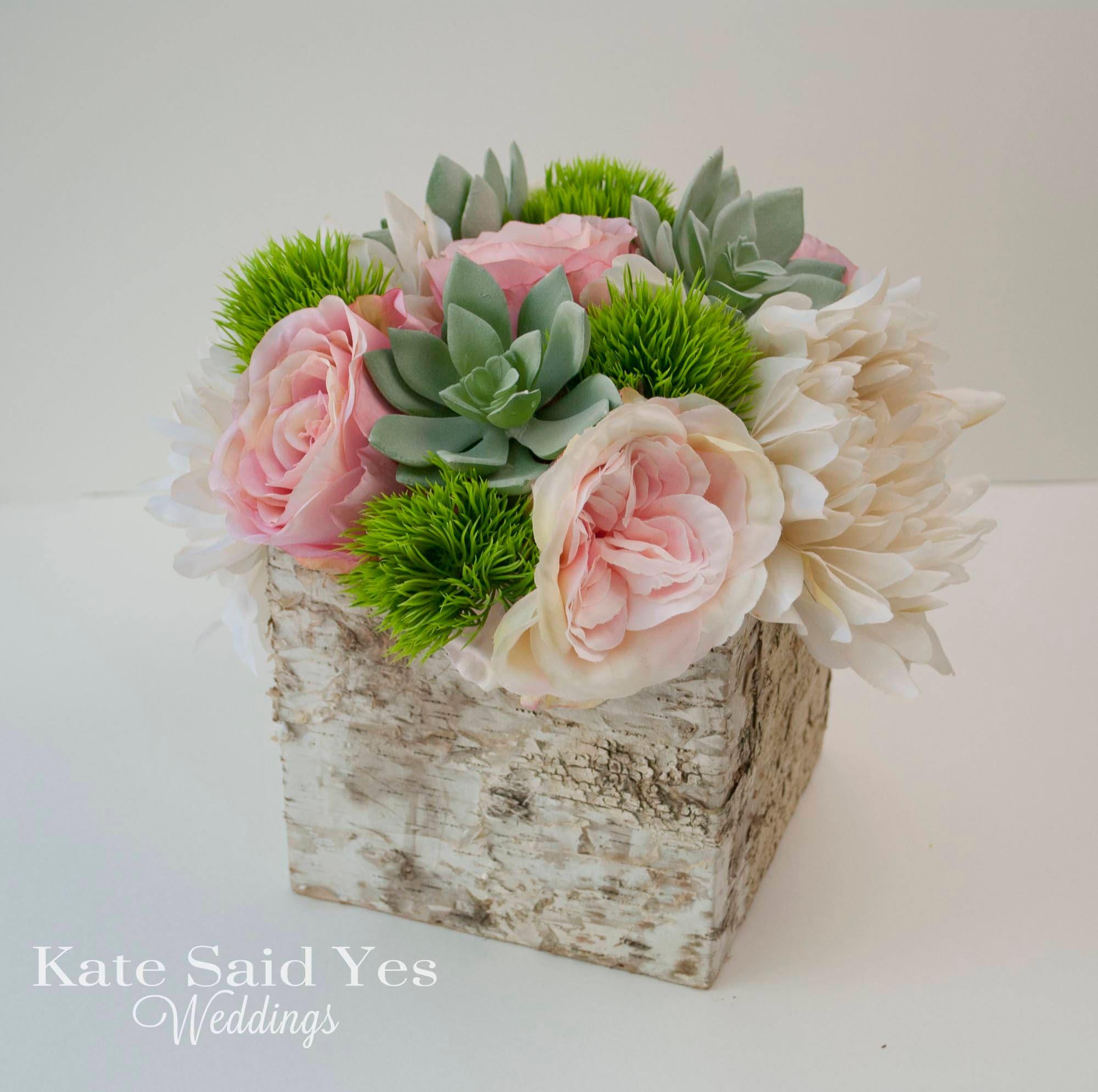 Succulent Centerpiece Wedding Centerpiece Rose And Dahlia Etsy