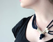 Chunky Rope Necklace- Blue Statement Necklace- Nautical Blue with Sea Organic Shape- egst