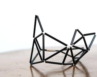 Black Faceted Bracelet- Prism Geometrical Statement Cuff Bracelet- Himmeli Inspired