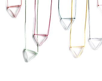 Geometric Triangle Neon Magenta Pendant-Rainbow-Faceted transparent plastic