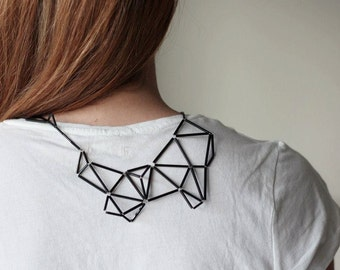 Geometric Statement Necklace- Faceted Prism Triangle necklace - Black minimalist necklace